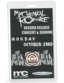 My Chemical Romance Black Parade Record Release Pass by Ebay Seller