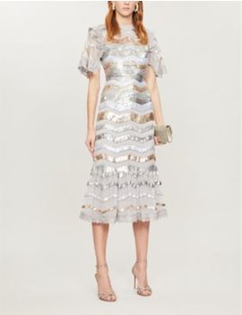 Alaska Striped Sequin And Tulle Midi Dress by Needle And Thread