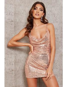 Nude Sequin Cowl Neck Mini Dress by I Saw It First