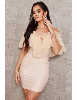 Nude Mesh Ruffle Bodycon Dress by I Saw It First