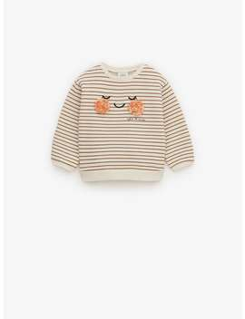 Sweatshirt With Face AppliquÉ by Zara