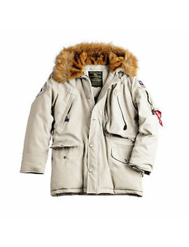 Alpha Industries Polar Jacket Herren Parka Winterjacke Mit Pelzkapuze Off White by Ebay Seller