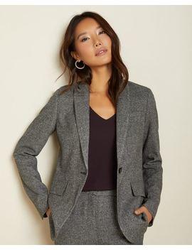 Long Fitted Grey Tweed Blazer by Rw & Co