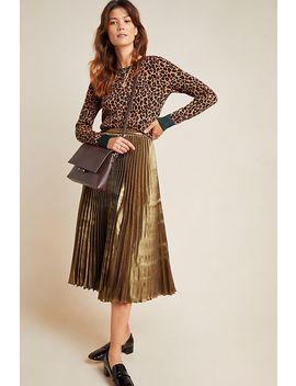 Caron Pleated Metallic Midi Skirt by Am.It By Amit Aggarwal