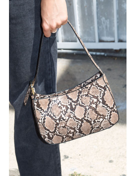 Brown Faux Snakeskin Purse by Brandy Melville
