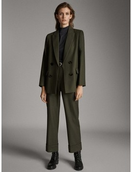 Straight Fit 100% Wool Suit Trousers by Massimo Dutti