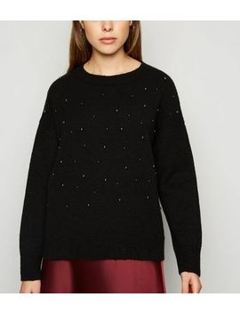 Black Faux Pearl Jumper by New Look