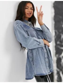 Джинсовая Oversize рубашка с бахромой из страз на воротнике Asos Design by Asos Design