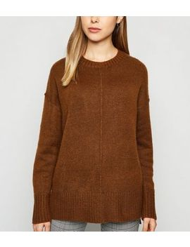 Dark Brown Exposed Seam Crew Neck Jumper by New Look