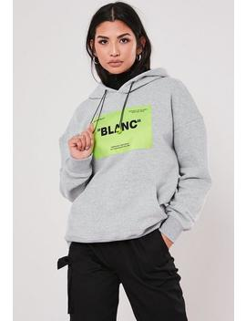 Grey Blanc Neon Graphic Hoodie by Missguided