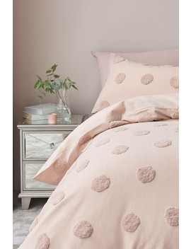100% Cotton Tufted Spot Duvet Cover And Pillowcase Set by Next
