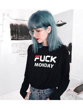 Fcuk Lundi Manche T Shirt Femmes Dames Tee Top Hipster Tumblr Grunge Dope Goth Punk Kawaii Mignon 90 Sport Sportif Skate Mode Slogan by Etsy
