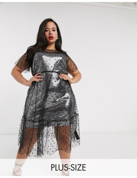 Simply Be Sequin Slip Dress In Silver by Simply Be