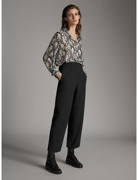 Straight Fit Darted Wool Trousers by Massimo Dutti