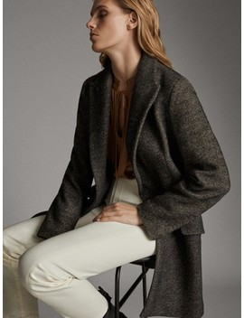 Black Herringbone Cotton And Wool Coat by Massimo Dutti