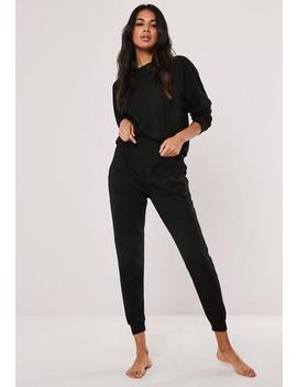 Black Rib Soft Touch Loungewear Set by Missguided