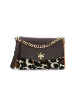 Kira Leopard Print Shearling & Leather Shoulder Bag by Tory Burch