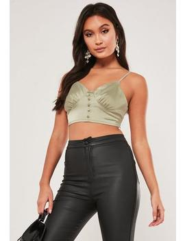Petite Champagne Button Bralet by Missguided