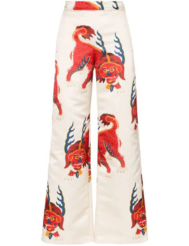 Haetae Print Wide Leg Trousers by Kirin