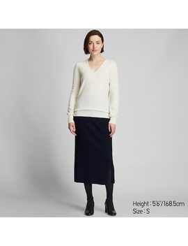 Women Cashmere V Neck Jumper (Relaxed Fit)  (14) by Uniqlo