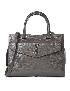 Saint Laurent Croc Embossed Calfskin Medium Uptown Tote Asphalt by Yves Saint Laurent