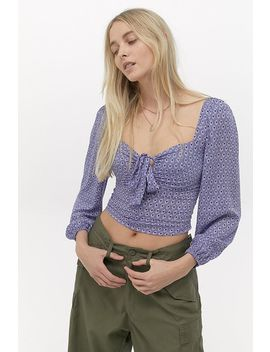 Uo Rosalind Geo Puff Sleeve Top by Urban Outfitters