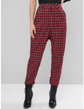 New High Waisted Pockets Plaid Straight Pants   Red M by Zaful