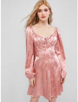 New Salezaful Floral Jacquard Sweetheart Mini Dress   Pink Rose L by Zaful