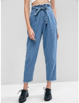 New Frayed Pocket Belted Paperbag Pencil Jeans   Denim Blue M by Zaful