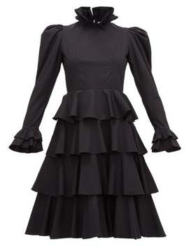 Confection Puffed Sleeve Tiered Cotton Dress by Batsheva