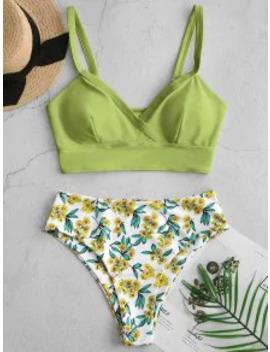 Hot Salezaful Floral Surplice High Cut Tankini Swimsuit   Light Green S by Zaful