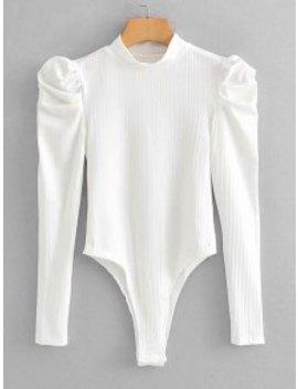 Popular Mock Neck Ribbed Puff Sleeve Bodysuit   White L by Zaful