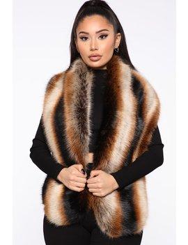 Who Is She Fur Scarf   Brown by Fashion Nova