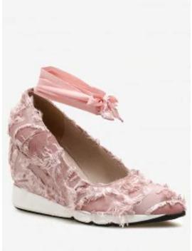 Sale Lace Up Frayed Trim Satin Shoes   Light Pink 38 by Zaful