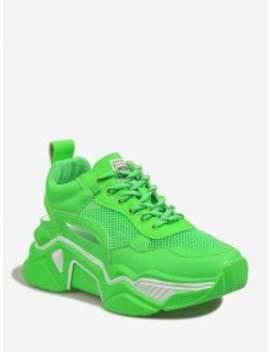 Lace Up Mesh Trim Platform Sport Shoes   Green Eu 37 by Zaful