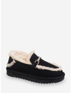 Popular Metal Accent Fuzzy Trim Comfortable Snow Boots   Black Eu 38 by Zaful