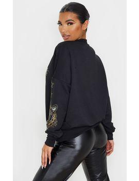 Black Tiger Embellished Sweater by Prettylittlething