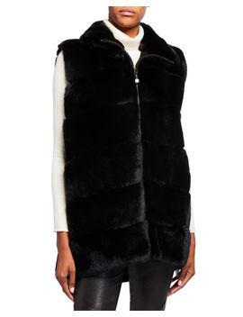 Plush Rabbit Fur Long Vest by Belle Fare