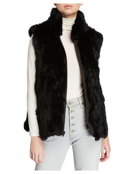 Reversible Rabbit Fur Vest by Adrienne Landau