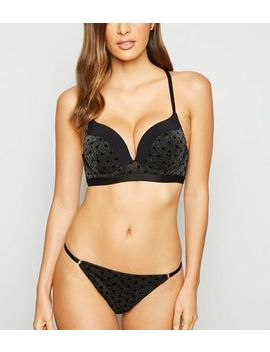 Black Glitter Flocked Mesh Boost Bra by New Look