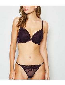 Burgundy Embroidered Boost Bra by New Look