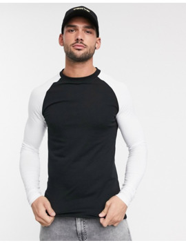 Asos Design Long Sleeve Muscle Fit Raglan T Shirt With Crew Neck In White & Black by Asos Design