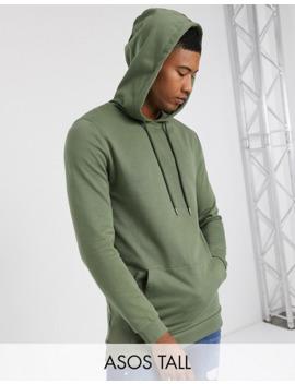Asos Design Tall Organic Longline Hoodie In Khaki by Asos Design