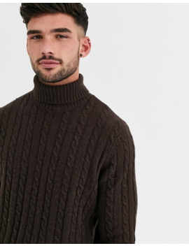 Asos Design Lambswool Cable Knit Roll Neck Jumper In Brown by Asos Design