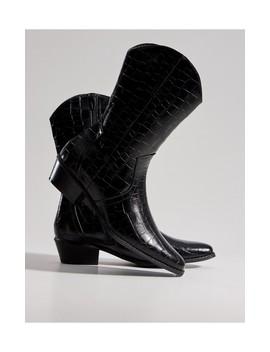 Buty Kowbojki Z Imitacji Krokodylej Skóry by Mohito