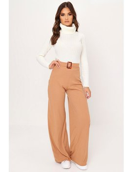 Camel Rib Belted Wide Leg Trouser by I Saw It First