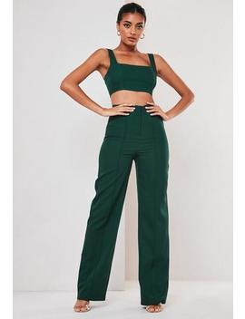 Tall Green Co Ord Seam Detail Straight Leg Trousers by Missguided