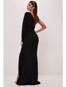 Black One Shoulder Fishtail Maxi Dress by Missguided