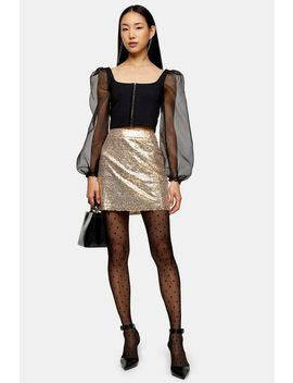 Gold Sequin Mini Skirt by Topshop