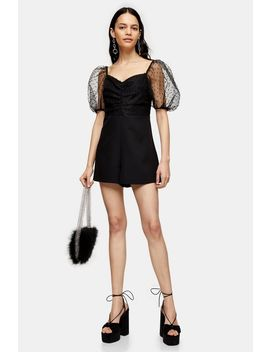 Black Puff Sleeve Playsuit by Topshop